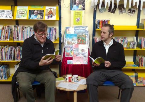Robin Mitchell and Cameron Pirie read from the book at Gorebridge Library