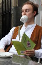 Guffy having tea on Victoria Terrace
