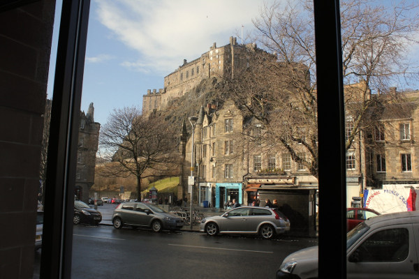 Edinburgh Castle view from Apex Grassmarket Hotel, welcoming us back under a new name for the 2016 run